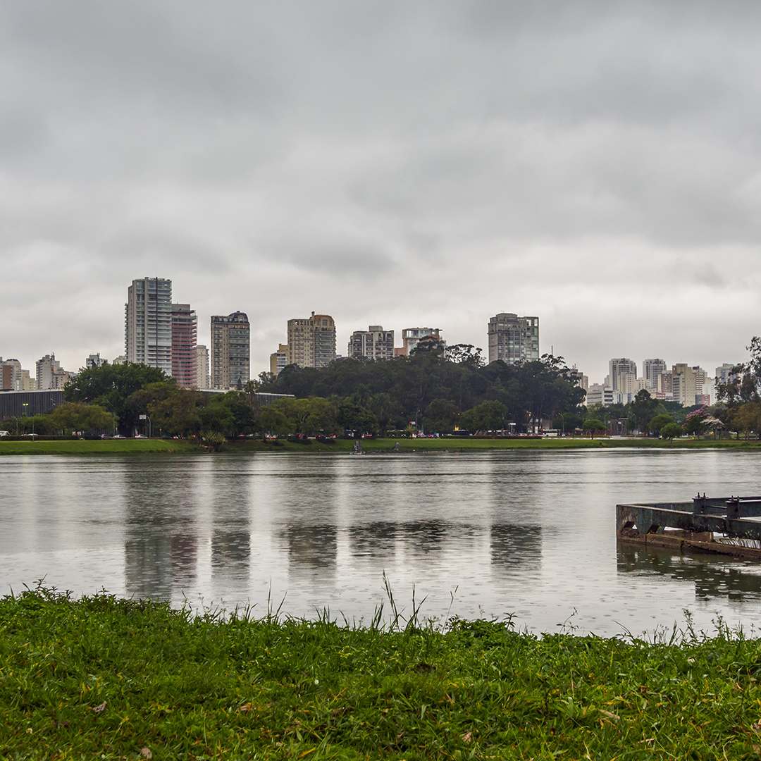 Brazil, State of Sao Paulo, City of Sao Paulo, Cityscape viewed from the Ibirapuera Park.