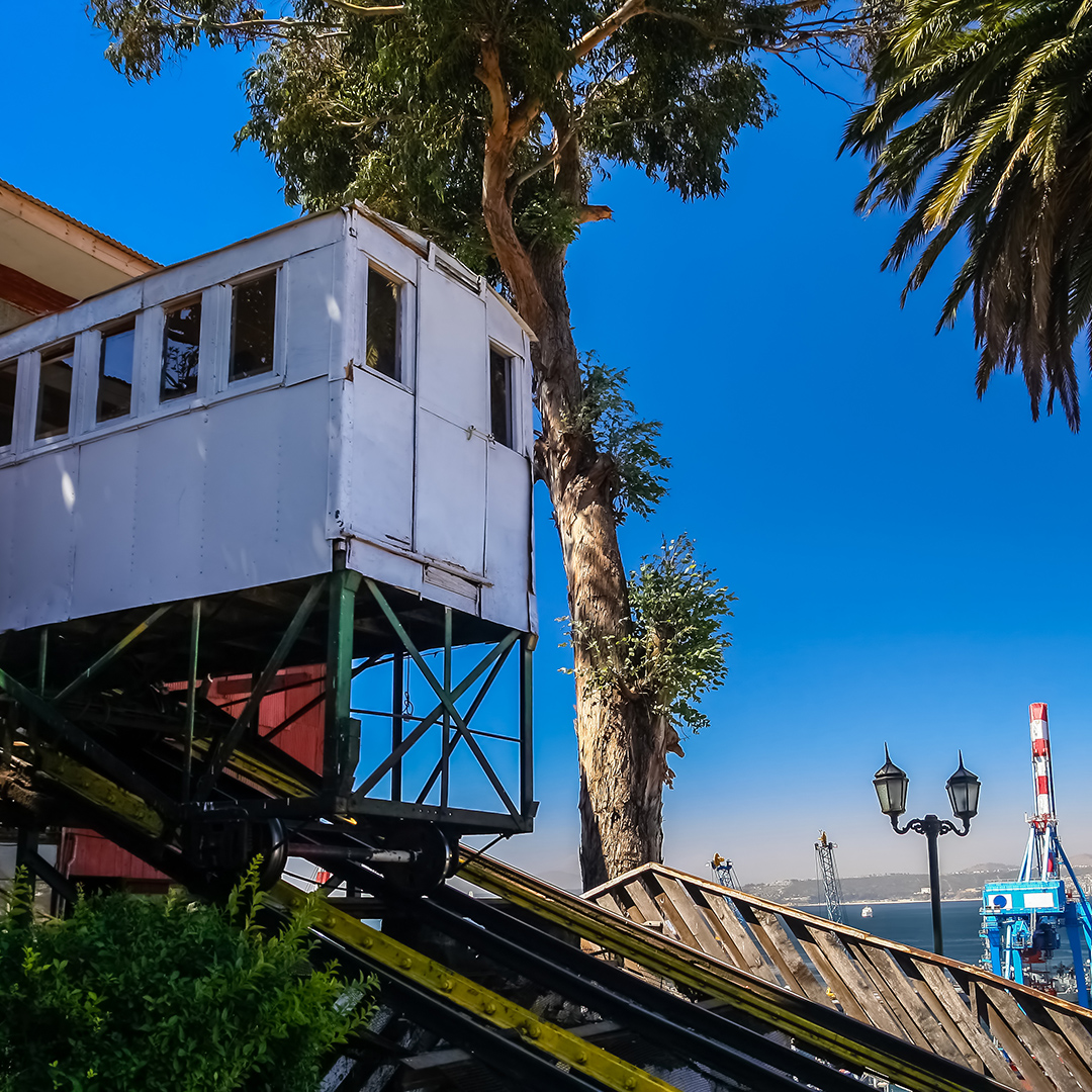 Artilleria funicular, one of the 16 funiculars operating in in Valparaiso, Chile. Valparaiso was declared a World Heritage Site by UNESCO in 2003