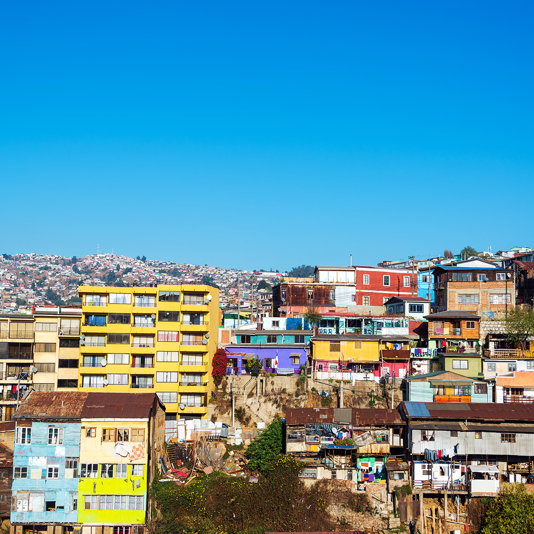 Cityscape of one of the hills in Valparaiso, Chile